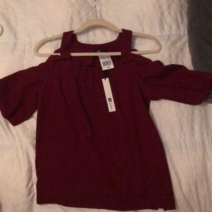 KUT from the Kloth cranberry shoulder peekaboo top